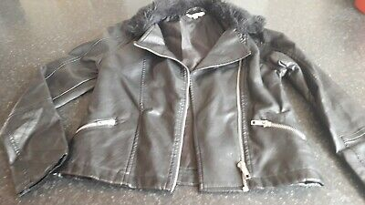 Peacocks miss evie faux soft leather girls biker jacket age 9-10 years old