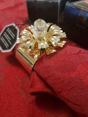 24k gold plated napkin rings x6