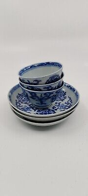 Three blue / white Yongzheng tea bowls and saucers Chinese export