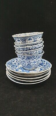 Five Kangxi blue white tea bowls and saucers Chinese export