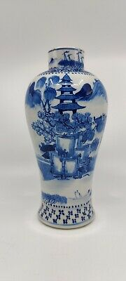 19th century blue / white porcelain vase with landscape Chinese export