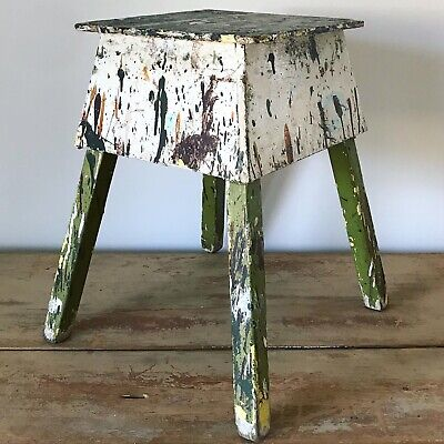 Antique Wooden Artist Art Stool Folk Art Stool