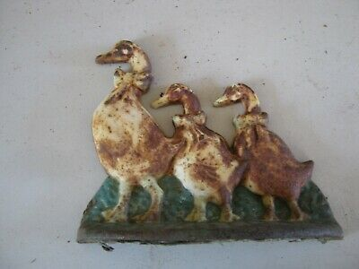 Vintage Decorative Cast Iron Door Stop  Ducks  Weathered