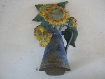Vintage Decorative Cast Iron Door Stop  Sunflowers ?  Weathered