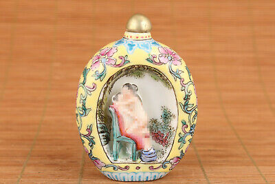 Chinese old porcelain painting statue qing dynasty married life snuff bottle