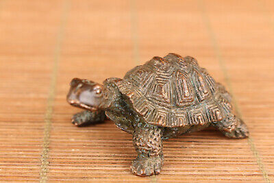 Chinese old bronze tortoise statue blessing collection tea pet table decoration