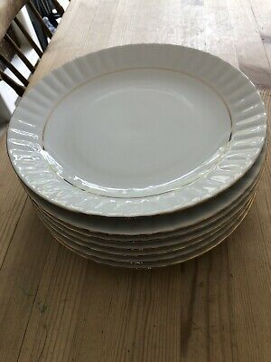 Fine Porcelain China CLASSIC Dinner Plates X 7 White with Gold Trim