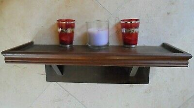 Vintage mahogany wall shelf, candle sconce display, statue, clock bracket