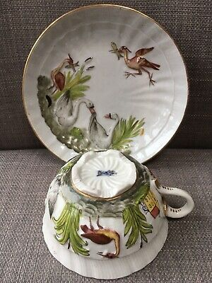 Rare Antique Herend Swans and Cranes Porcelain Cups and Saucer