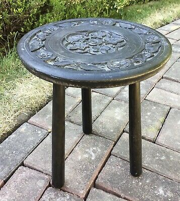 Small Vintage Wooden Carved Circular Side Table Plant Stand Stool For TLC