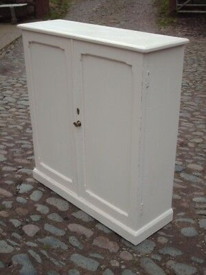Antique Rustic Victorian Painted Pine Cupboard
