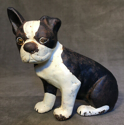 Vintage Cast Iron French Bulldog Boston Terrier Dog Door Stop Original Paint