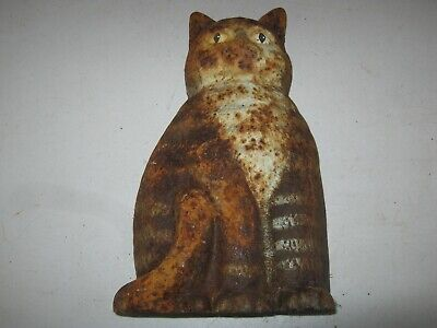Vintage Decorative Cast Iron Door Stop CAT  Weathered