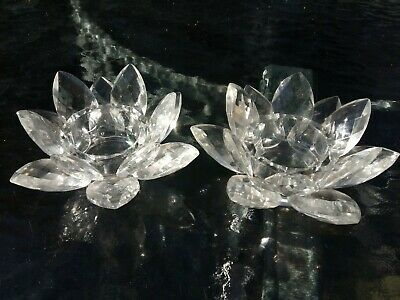 Pair of Vintage Crystal Glass Lotus Flower Candle Holders Candlestick Ornament