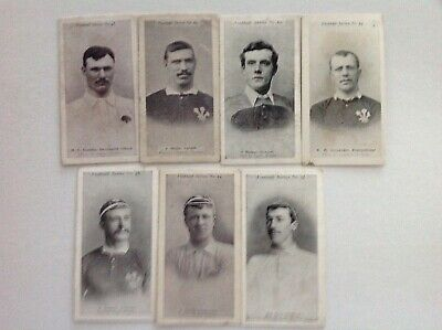 7 wills cigarette cards of rugby players circa 1900