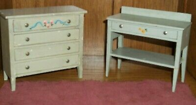 ANTIQUE VINTAGE FVC HAND PAINTED DOLLHOUSE FURNITURE-Florence V. Canon 1920's