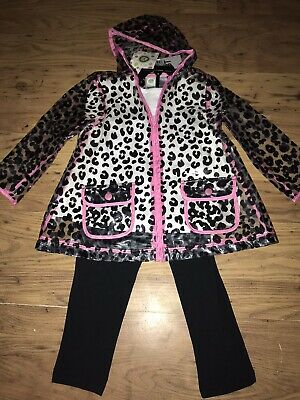 Girls Mini Me Clear Animal Print Jacket With Matching Outfit AGE 4 YEARS New