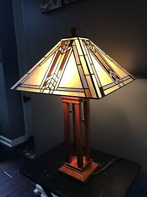 """Stained Glass Table Lamp Tiffany Style Mission Design Shade 16""""W Square Shade"""