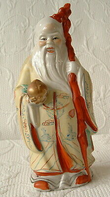 Antique Chinese Deity / God Of Longevity Figurine – With Staff & Peach