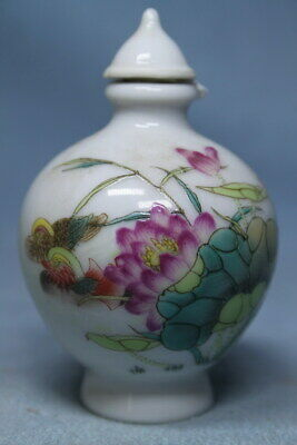 Decorative Exquisite Porcelain Painting Lotus Auspicious Beautiful Snuff Bottles