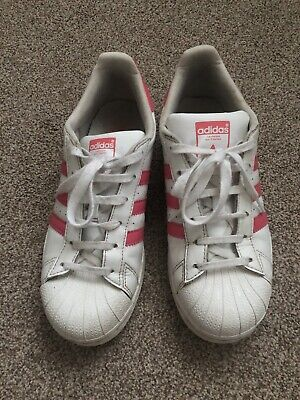 Adidas Women's Older Girls White & Pink Trainers Size 5 Eur 38