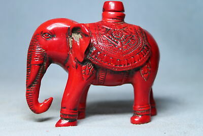 Collectable Ancient Rare Coral Carving Elephant Auspicious Elegant Snuff Bottles