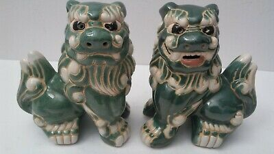 "Vtg. 6"" Set Fu-Foo Dogs Porcelain Temple Gate Guardian Lion Statues"