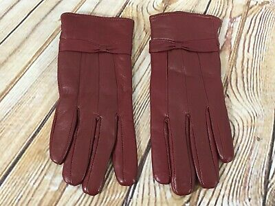 MODA Red Leather Lined Driving Gloves Ladies Women's Size MEDIUM