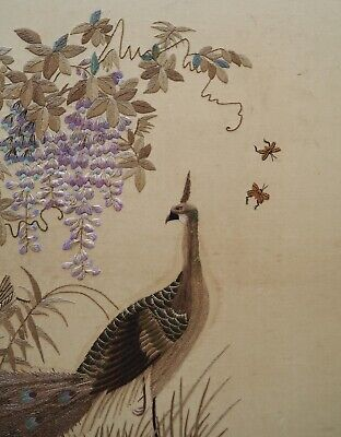 Broderie Soie Panneau Brodé Chinois Chinese Silk Embroidered Peacock Embroidery
