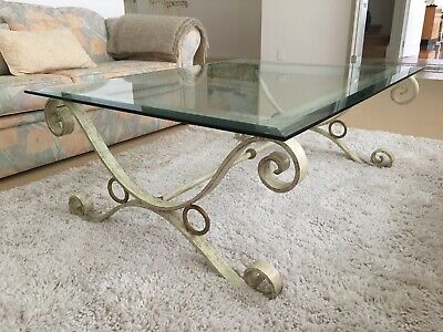 Hand Forged Wrought Iron French Provincial Hamptons Coffee Table Antique Glass