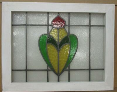 """MIDSIZE OLD ENGLISH LEADED STAINED GLASS WINDOW Pretty Floral design 27"""" x 21"""""""