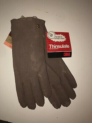 New Aris Vintage Satin Brown Leather Suede Thinsulate Womens Gloves M