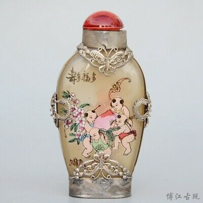 Collect Old Miao Silver Armour Glass Inside Paint Fairchild Luck Snuff Bottle