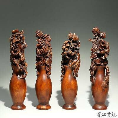 Collectable China Old Boxwood Hand-Carved Bloomy Flower Delicate Decorate Statue