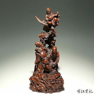 Collectable China Old Boxwood Hand-Carved Immortal Bring Luck Decorate Statue