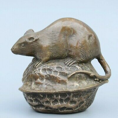 Collectable China Old Bronze Hand-Carved Mouse & Ealnut Moral Auspicious Statue