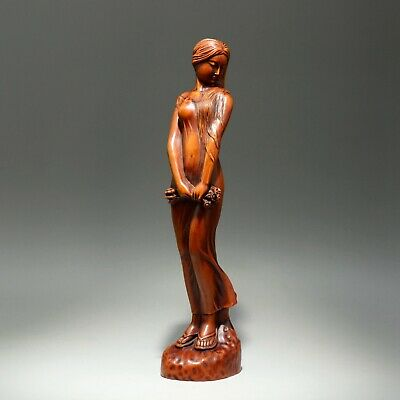 Collectable China Old Boxwood Hand-Carved Noble Belle Beautiful Delicate Statue
