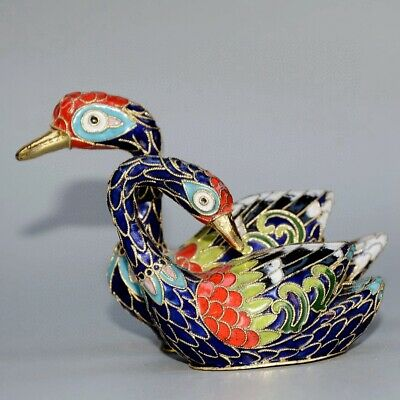 Collectable Chinese Old Cloisonne Hand-Carved Two Delicate Elegant Swan Statue