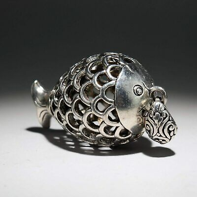 Collection Decor Miao Silver Hand-Carved Lovely Fish Delicate Hollow Out Pendant