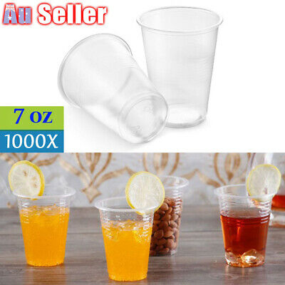1000X Disposable Plastic Cups Clear Reusable Drinking Water Cup Party 200ml Bulk