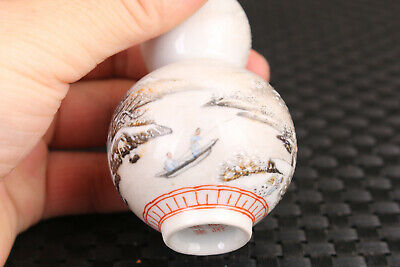 Asian chinese porcelain snow-covered landscape statue snuff bottle home deco
