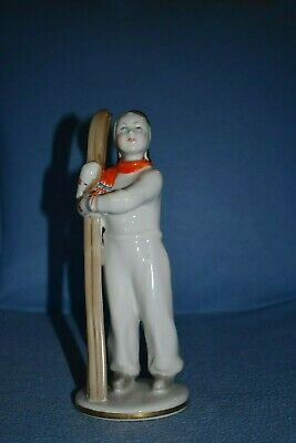 girl with skis Porcelain Figurine