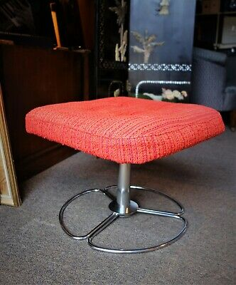 Vintage 60s Swedish Orange tweed swivel ottoman Stool Dahléns Dalum, Fåtöljin