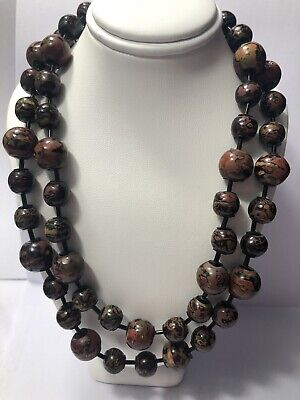 Antique Japanese Laquered Wood OJIME Bead Necklace 4 color Meiji  INRO 55 beads