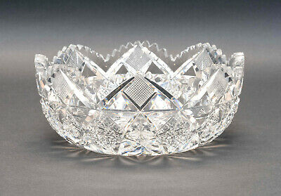Signed Hawkes American brilliant Period Cut Glass Bowl