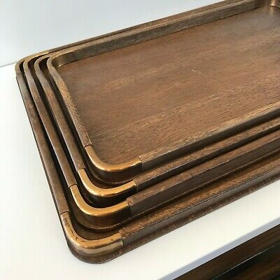 Vintage Set of 4 Nested Wood Trays With Brass Corners Standard Specialty Japan