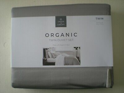 Under The Canopy ORGANIC TWIN DUVET Set Hotel Border Grey / white