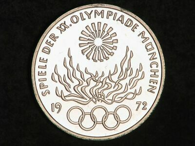 GERMANY 1972F 10 Mark Munich Olympics Flame Silver Proof
