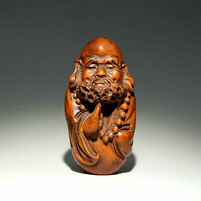 Collectable Old Boxwood Hand-Carved Master Of Zen Moral Exorcism Unique Statue
