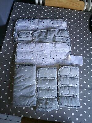 Cot bed Bumper Bar Covers Velcro Grey and White x 6